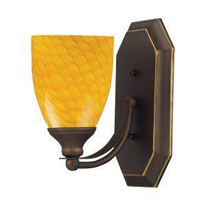 Elk Lighting ELK 570 1B CN Vanity 1 LIGHT Bath Vanity with CANARY GLASS