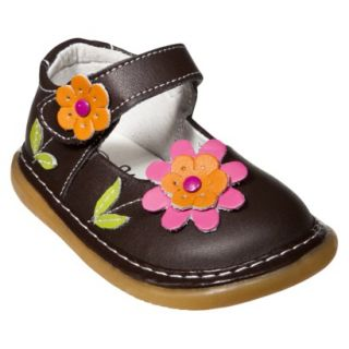 Little Girls Wee Squeak Daisy Mary Jane   Brown 8