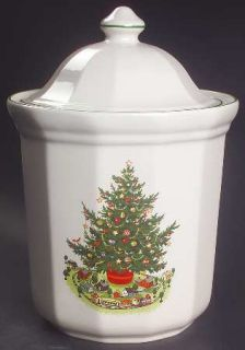 Pfaltzgraff Christmas Heritage Cookie Jar and Lid, Fine China Dinnerware   Multi
