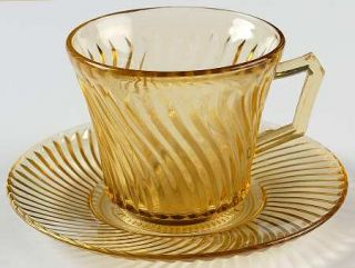 Federal Glass  Diana Amber Cup and Saucer Set   Amber, Depression Glass