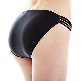 ARIZONA Shirred Side Hipster Swim Bottoms, Black, Womens
