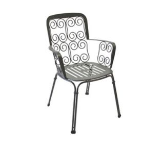 EmuAmericas Arm Chair w/ Wrought Iron Back & Sides, Steel, Design Pattern Seat, White