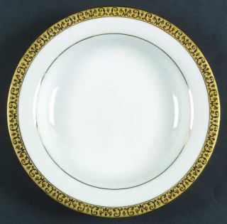 Royal Gallery Gold Buffet Large Rim Soup Bowl, Fine China Dinnerware   Gold Encr