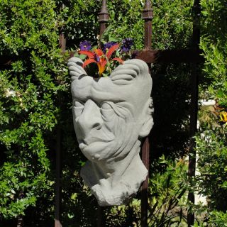 Designer Stone Gargoyle Head Wall Planter Multicolor   2177