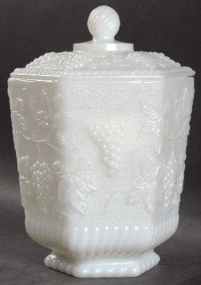 Anchor Hocking Vintage Milk Glass Cookie Jar with Lid   Milk Glass, Grapes