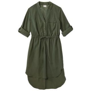 Merona Womens Drawstring Shirt Dress   Moss   XXL