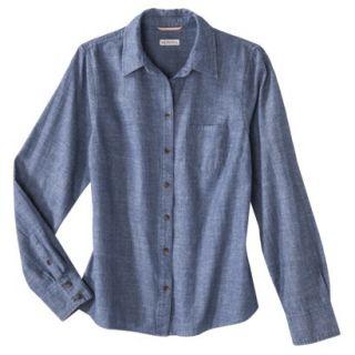 Merona Petites Long Sleeve Chambray Shirt   Blue XSP