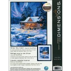 Winter Sky Cabin Needlepoint Kit 11x14 Stitched In Thread