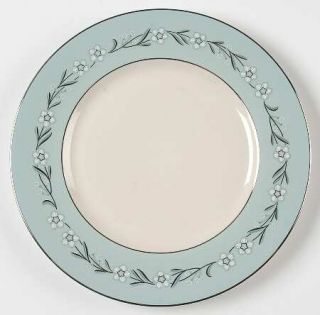 Franciscan Del Rio Salad Plate, Fine China Dinnerware   White/Pink Flowers,Aqua