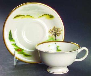 Shenango Grandma Moses Footed Cup & Saucer Set, Fine China Dinnerware   Multimot