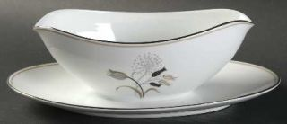 Noritake Jaris Gravy Boat with Attached Underplate, Fine China Dinnerware   Gray
