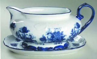 Cracker Barrel Blue And White Gravy Boat & Underplate, Fine China Dinnerware   B