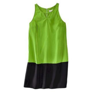 Merona Womens Colorblock Hem Shift Dress   Zuna Green/Black   14