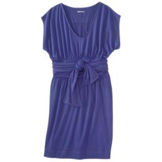 Merona Womens Shirred Dress w/Tie Back   Blue   L