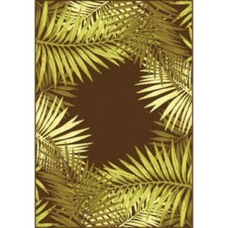 Verdis 53x75 Rectangular Patio Rug   Chestnut/Green Leaf