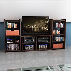 Mocha Finish 42 inch Tv Stand With Two Audio Stands