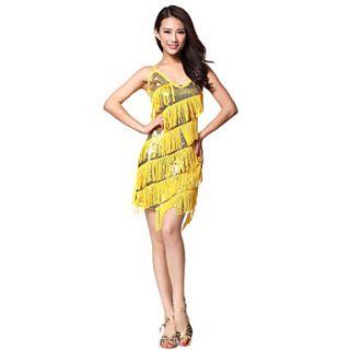 Performance Dancewear Polyester With Tassels Rhinestone Latin Dance Dress for Ladies