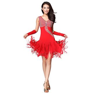 Performance Dancewear Polyester With Rhinestone And Tassels Latin Dance Dress for Ladies(More Colors)
