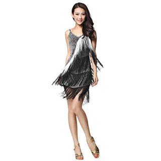 Dancewear Fabric Latin Dance Dress With Tassels Rhinestone For Ladies