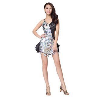 Dancewear Satin Latin Dance Dress With Sequins For Ladies