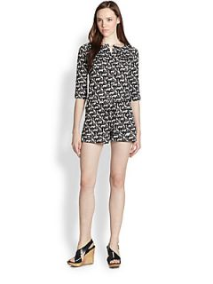 Diane von Furstenberg Opal Printed Silk Jumper   Cork Jungle Black