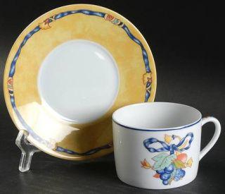 Bernardaud Borghese Flat Cup & Saucer Set, Fine China Dinnerware   Different Col