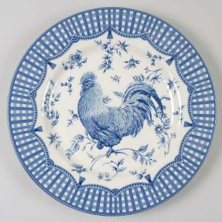 Queens China Rooster Blue Dinner Plate, Fine China Dinnerware   All Blue,Plaid&