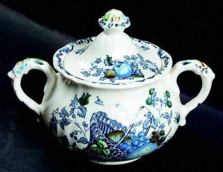 Masons Fruit Basket Blue Multicolor Sugar Bowl & Lid, Fine China Dinnerware   4
