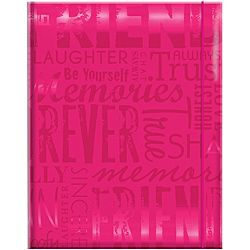 Embossed Gloss Friends Expressions Hot Pink Photo Album (holds 100 Photo) (Hot pinkMaterials PaperIncludes one (1) albumHolds up to 100 4 inch x 6 inch photosCover embossed in glossy tone on tone wordsMemo area to document memoriesElastic cord closureAci