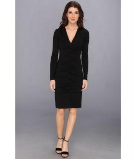 Nicole Miller Heather Jersey V Neck L/S Tucked Dress Womens Dress (Black)