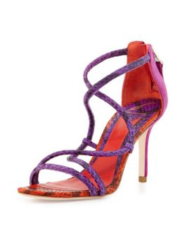 Estefania Snake Embossed Leather Sandal, Purple/Viola